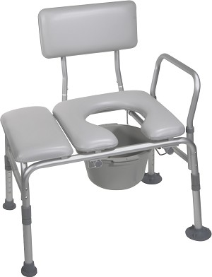Combination Padded Transfer Bench/Commode-400lb capacity