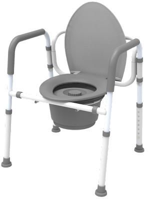 Folding Commode- 3 in 1  Aluminum, Elongated Seat-FSS ITEM
